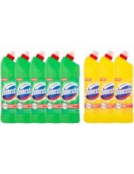 Domestos Płyny Czyszcząco-Dezynfekujące do WC (5x Pine Fresh 1250 ml + 3x Citrus Fresh 1250 ml) Przedłużona Moc Zestaw