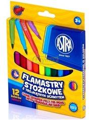 Flamastry Stożkowe do Kolorowania, Pisania i Rysowania z Trójkątnym Uchwytem Różne Kolory Astra 12 szt