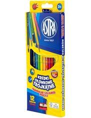 Kredki Ołówkowe Trójkątne do Kolorowania, Pisania i Rysowania Różne Kolory Astra 12 szt + Gratis Temperówka 1 szt